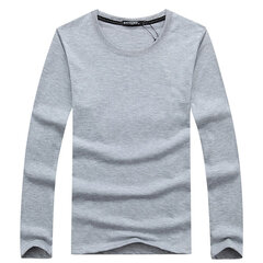 Simple Style Casual Cotton Solid Color O-Neck Long Sleeve Plus Size T-Shirt For Men
