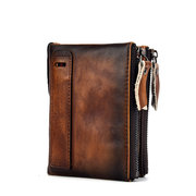 RFID Men And Women Genuine Leather Short Wallet 6 Card Slot Multi-function Vintage Coin Purse