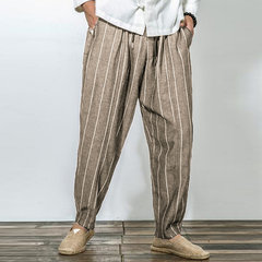 Mens Striped Printed 100% Cotton Breathable Casual Baggy Loose Harem Pants