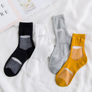 Women Ultrathin Transparent Small Squares Crystal Silk Sock Casual Breathable Elastic Tube Socks