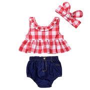 3Pcs Plaid Pattern Meninas Summer Clothing Set Top + Denim Bottom Para 0-36M