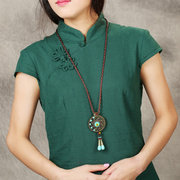 Ethnic Round Tassels Necklace Long-Style Alloy Necklace For Women