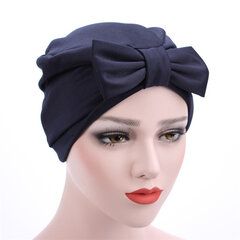 Women Satin Solid Color Big Bowknot Muslim Beanie Hat Four Seasons Suitable Casual Turban Cap