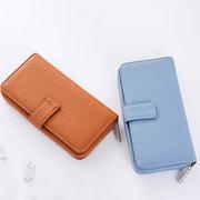 Women Stylish Pure Color Multi-slots Card Holder Long Wallet Purse