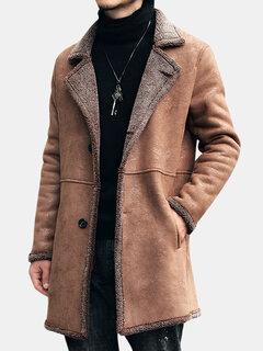 Mittellange Winter Faux Chamois Leder Trenchcoat verdicken Jacke für Männer