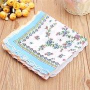 10pcs Damen Dame Vintage Stil Floral Crescent Edge Taschentuch Baumwolle Taschentuch