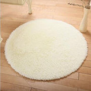 Beige Plush Roung Home Carpet Living Room Bedroom Decorative Soft Long Hair Rug Foot Rug