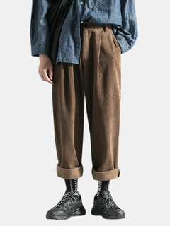 Pantalon de costume d'hiver en velours côtelé pour hommes en vrac multi-poches droites de couleur unie