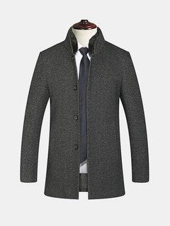 Mens verdicken Baumwolle Futter pelzigen Stehkragenjacke Business Casual Wolle Trenchcoat
