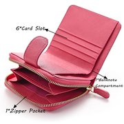 Women Genuine Leather Short Solid Wallet 6 Card Slot Coin Purse