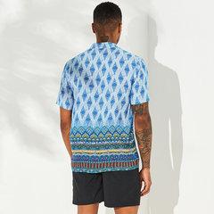 رجل تنفس العرقية المطبوعة قصيرة الأكمام الوقوف طوق القميص هينلي