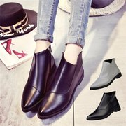 Pure Color British Style Zipper Ankle Flat Casual Boots