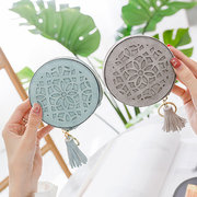 Women PU Leather Solid Cute Round Coin Purse Tassel Wallet