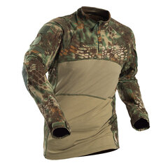 Mens Tactical Camo Printing Breathable Elastic Wear-resistant Long Sleeve Casual T shirt