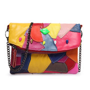 Women Vera Pelle Coloful Patchwork Zipper Crossbody Bags Borse a spalla