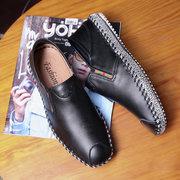 Hombres mano costura gorro dedo del pie suave informal cuero mocasines de tacón plegable