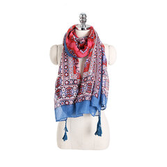 Muslim Hijab Bandana Geometric Bohemia Ethnic Cotton Voile Scarf For Women Long Shawl Tassel Wrap
