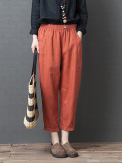 Casual Loose Elastic Waist Solid Color Pants with Pockets