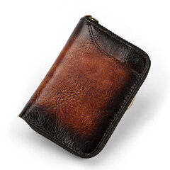 Vintage Genuine Leather 12 Card Slots Wallet Card Holder For Men