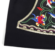 Women Vintage Ethnic Embroidery Flowers Black Beanie Hat Casual Breathable Cotton Caps