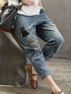 Casual Animal Patch Distressed Elastic Waist Denim