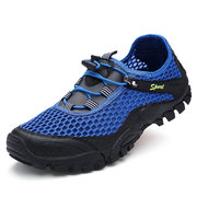 Men Mesh Bungee Closure Breathable Water Shoes Outdoor Hiking Sneakers