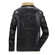 Mens Winter Casual Business Thicken Fleece Lining Warm Faux Leather Jacket