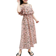 Floral Girls Off Shoulder Chiffon Dress For 6-15Y