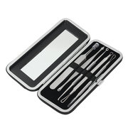 5Pcs Blackhead Acne Blemish Pimple Remover Extractor Stainless Steel Tool Kit With Mirror