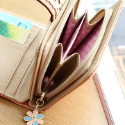Women Hollow Out Embossed PU Leather Wallet Purse