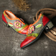 SOCOFY Retro Floral Elegance Lace Genuine Leather Splicing Slip On Flat Shoes