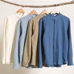 Vintage Chinese Style Solid Color Stand Collar Long Sleeve Casual Loose Shirt for Men