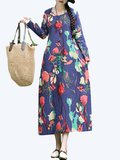 Vintage Print Loose 3/4 Sleeve Maxi Dress for Women
