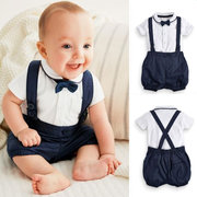 2Pcs Formal Gentleman Cotton Baby Boys Suspender Sets Camiseta + Pantalones Para 6-24M