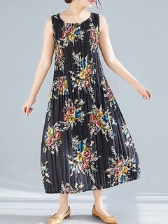 Vintage Print Pleated Sleeveless Dress for Women