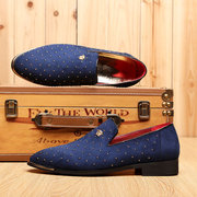 Men Suede Rivet Pointed Toe British Style Formal Shoes Slip On Casual Loafers