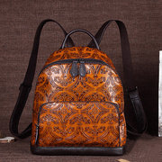 Brenice Genuine Leather Women Backpack Vintage Embossed Women Retro Bag Travel Backpack