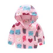 Giacca con cappuccio con stampa animalier per bambini Cappotti bambina per 2Y-9Y