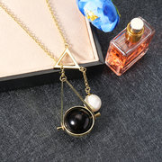 JASSY® 18K Gold Chain Geometric Shape Black Agate Shell Pearl Pendant Lariat Necklace Gift for Women