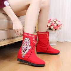 Old Peking Chinese Style Flower Cloth Embroidered Boots For Women
