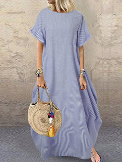 Stripe Loose Irregular manga curta Summer Maxi Dress