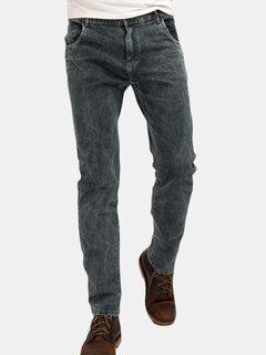 Lässige elastische Slim Fit Messingknopf-gewaschene Jeans für Männer