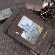 Carteira De Couro PU Bifold 6 Slots De Cartão Casual Do Vintage Pacote De Cartão De Moeda Da Moeda Bolsa Para Os Homens