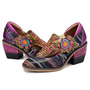 SOCOFY Retro Flowers Pattern Genuine Leather Splicing Colorful Stripes Soft Floral Hook Loop Pumps