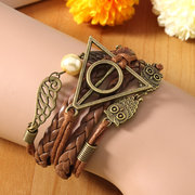 Multilayer Braided Leather Triangle Owl Wings Cuff Bracelets for Women Men Unisex