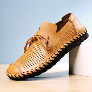Men Hand Stitching Breathable Hollow Out Soft Sole Outdoor Casual Shoes