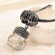 Vintage Round Water Drop Crystal Sweater Necklaces for Women