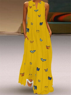 Bohemian Print Butterfly V Neck Sleeveless Maxi Dress