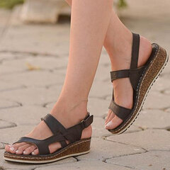 Women Casual Peep Toe Hollow Hook Loop Wedges Sandals