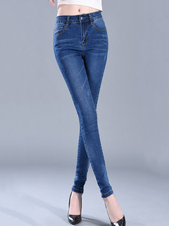 Casual Jeans crayon stretch couleur unie
